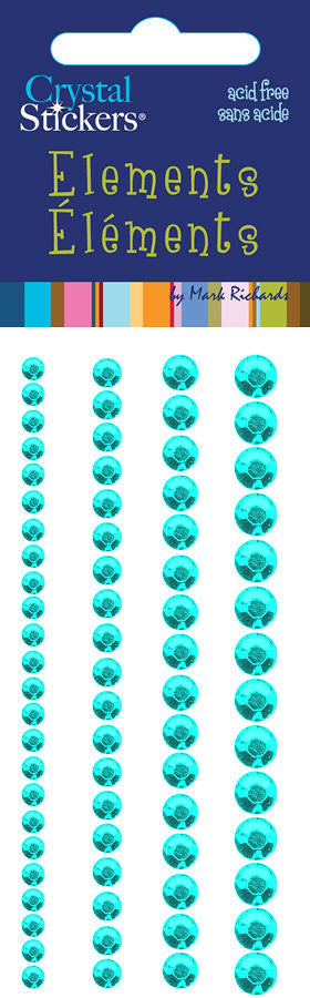 Rhinestones Stickers Round 3,4,5,6mm Teal