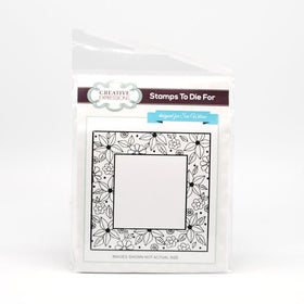 Creative Expressions Self Cling Rubber Stamp - Floral Doodle Square