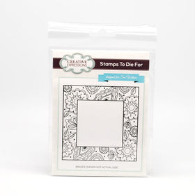 Creative Expressions Self Cling Rubber Stamp - Zentangled Flower Square
