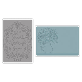 Sizzix Textured Impressions Embossing Folders - Flowers & Craft; Perfume Labels Set