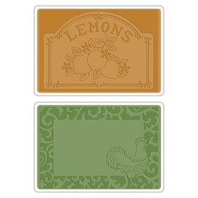 Sizzix Textured Impressions Embossing Folders - Rooster Frame & Craft; Lemon Set