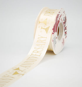 Anniversary Milestone Ribbon - 33mm Gold on Cream