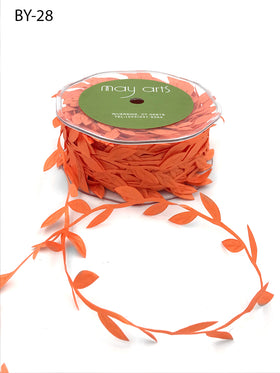 May Arts Classic Leaves Ribbon - Orange