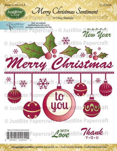 JustRite Cling Stamps - Merry Christmas Sentiment