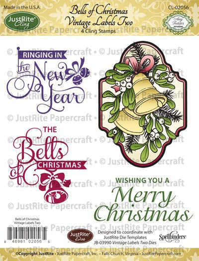JustRite Cling Stamp - Bells of Christmas Vintage Labels Two