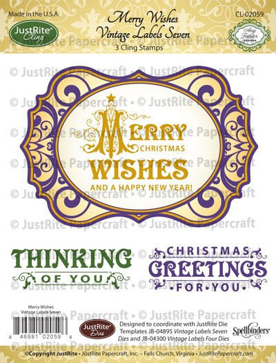 JustRite Cling Stamp - Merry Wishes Vintage Labels Seven