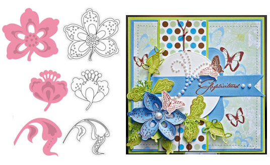 Marianne Design Collectables - Two Flowers & Leaf 2