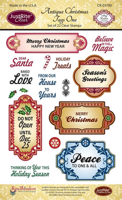 JustRite Cling Stamp - Antique Christmas Tags One