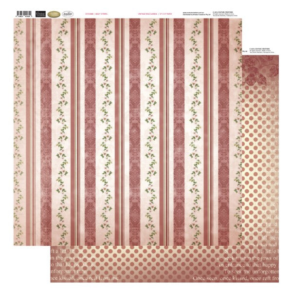 Couture Creations Vintage Rose - Heavy Stripes Paper