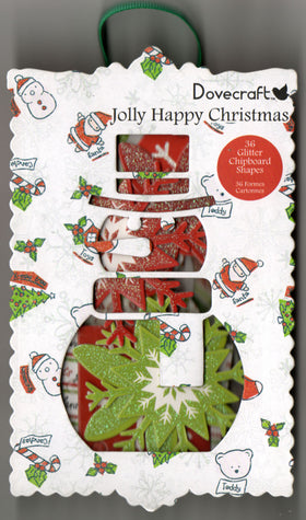 Jolly Happy Christmas Glitter Chipboard Shapes