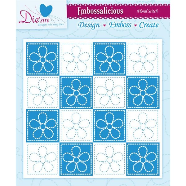 Embossalicious 6 x 6 Embossing Folder - Floral Stitch