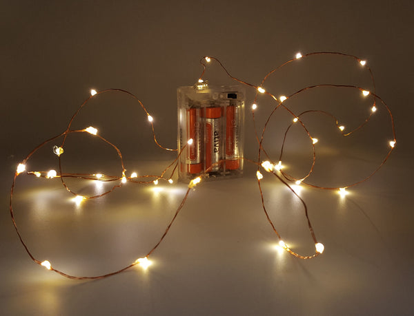 Fairy Lights - Battery operated (40 LED's on a 2 metre length of copper wire)