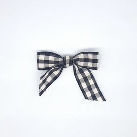 Gingham Ribbon Bows - 6cm Black/White (10Pk)