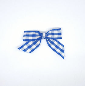 Gingham Ribbon Bows - 6cm Blue/White (10Pk)