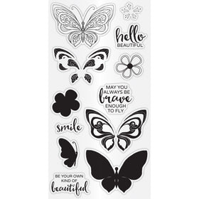 Hampton Art Clear Layering Stamp Set - Flower Butterfly