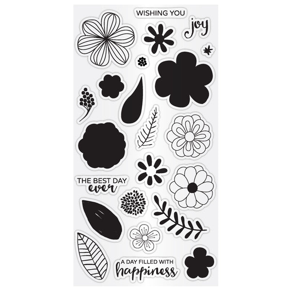 Hampton Art Clear Layering Stamp Set - Flower Joy