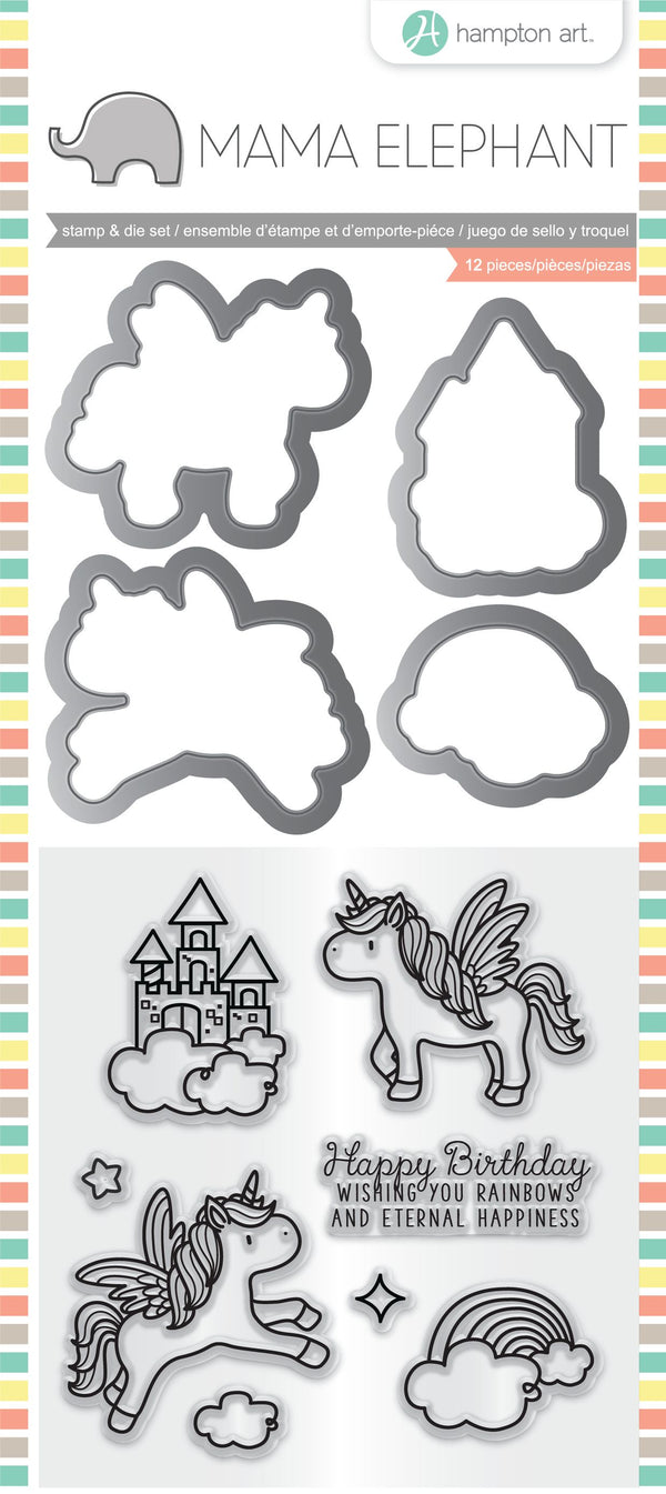 Hampton Art Mama Elephant Clear Stamp & Die Set - Over The Rainbow