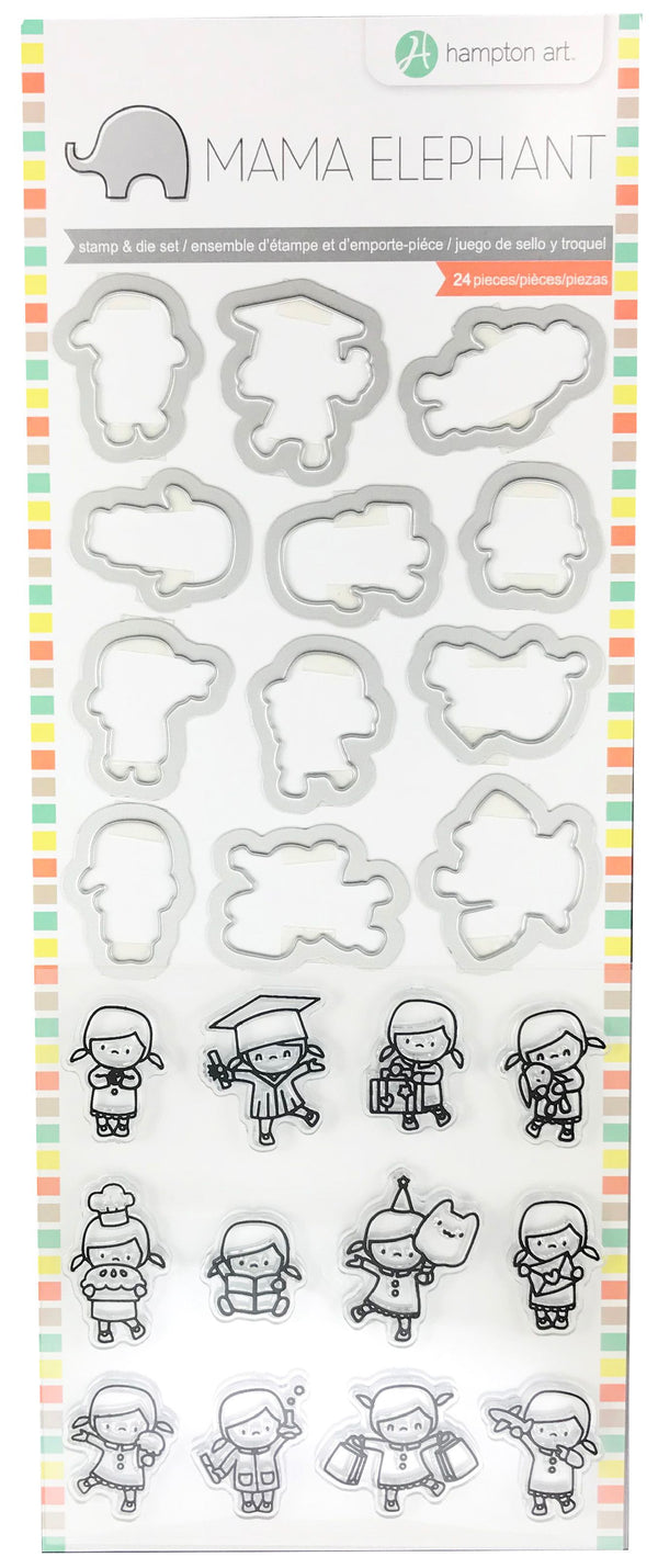 Hampton Art Mama Elephant Clear Stamp & Die Set - Mini Girl Agenda