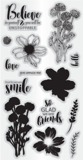 Hampton Art Clear Layering Stamp Set - Flower Believe