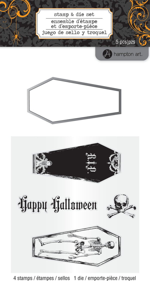 Hampton Art Clear Stamp & Die Set - Coffins