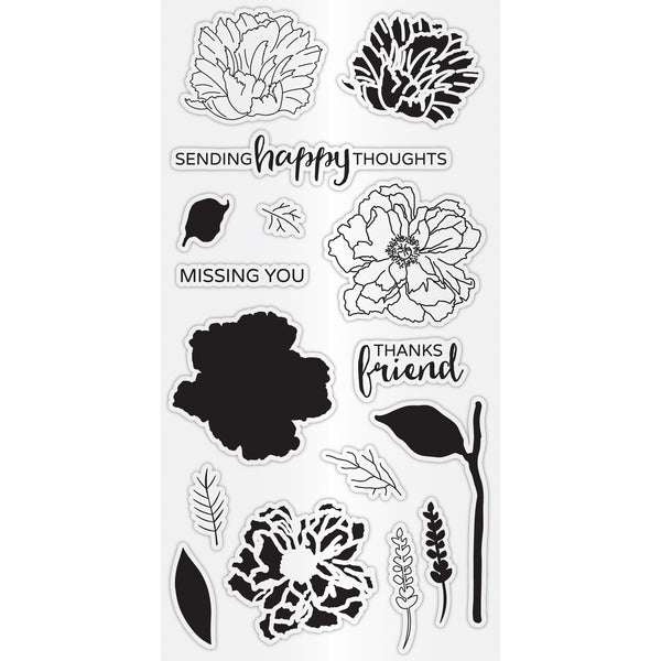 Hampton Art Clear Layering Stamp Set - Flower Happy