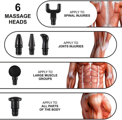 Massage Gun Deep Tissue Percussion Muscle Massager, 6 Heads
