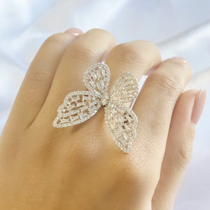 Women Butterfly Ring white gold