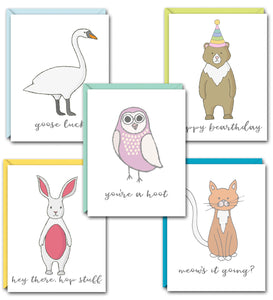 ANIMAL HOUSE PUN FUN GREETING CARD SET