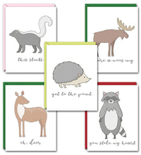 Load image into Gallery viewer, FAWNY WILDLIFE PUN FUN GREETING CARD SET