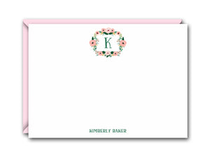 MONOGRAM FLORAL WREATH FLAT NOTE CARD SET