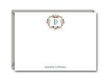 Load image into Gallery viewer, MONOGRAM FLORAL WREATH FLAT NOTE CARD SET