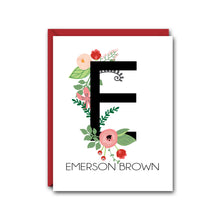 Load image into Gallery viewer, FLORAL MONOGRAM PERSONALIZED NOTE CARD SET