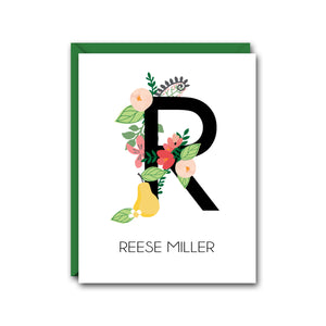 FLORAL MONOGRAM PERSONALIZED NOTE CARD SET