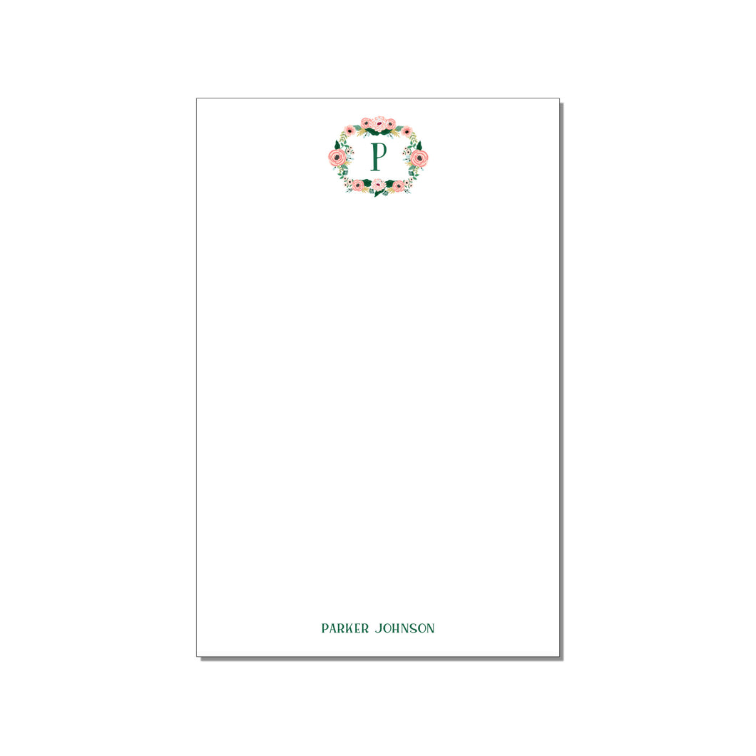MONOGRAM WREATH LARGE NOTEPAD