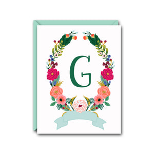 FLORAL WREATH MONOGRAM NOTE CARD SET