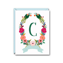 Load image into Gallery viewer, FLORAL WREATH MONOGRAM NOTE CARD SET