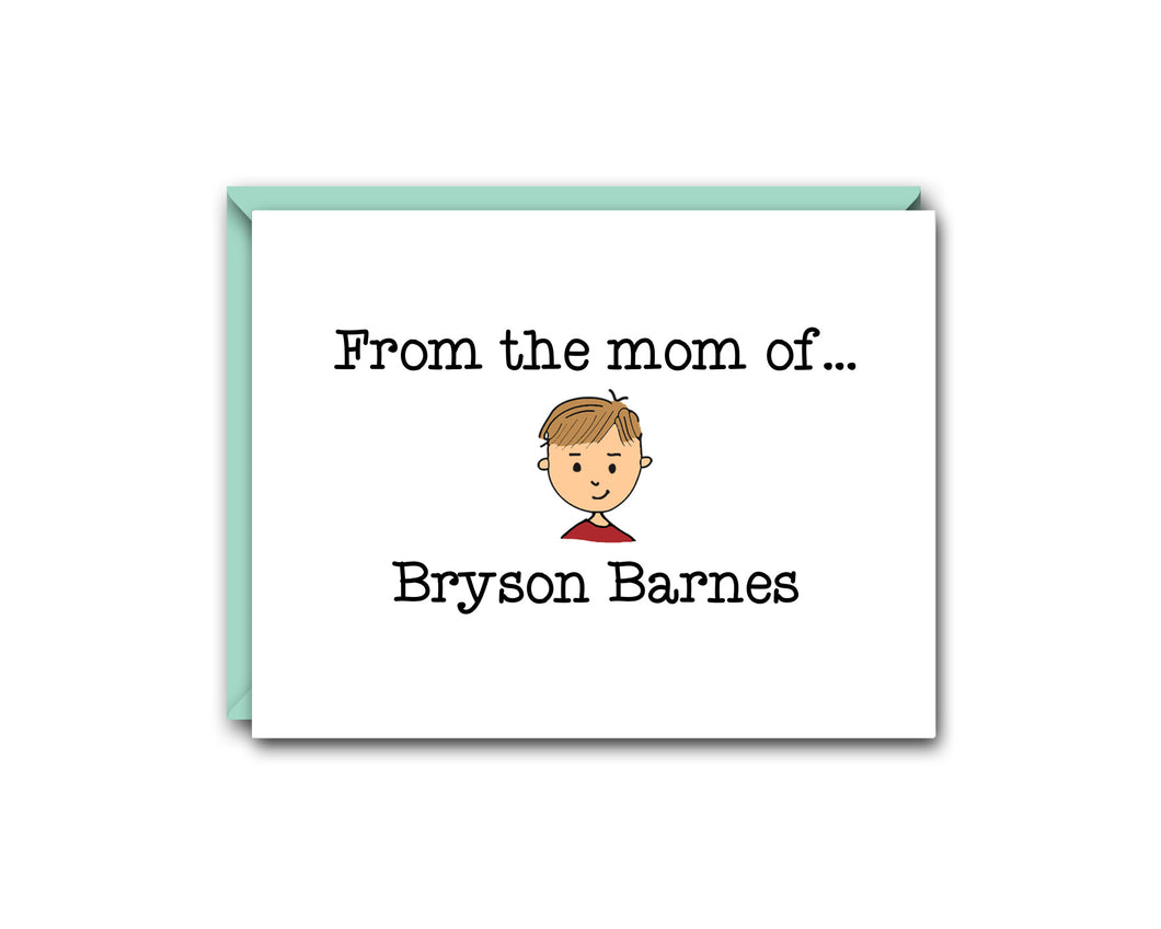 FROM THE MOM OFF... ONE CHILD PERSONALIZED NOTE CARD SET