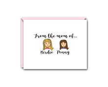 Load image into Gallery viewer, FROM THE MOM OFF... TWO CHILDREN PERSONALIZED NOTE CARD SET