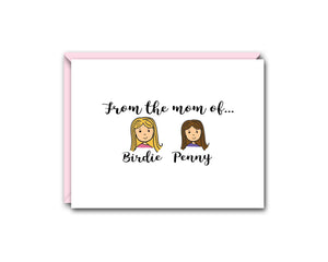 FROM THE MOM OFF... TWO CHILDREN PERSONALIZED NOTE CARD SET