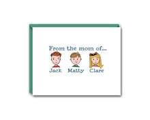 Load image into Gallery viewer, FROM THE MOM OFF... THREE CHILDREN PERSONALIZED NOTE CARD SET