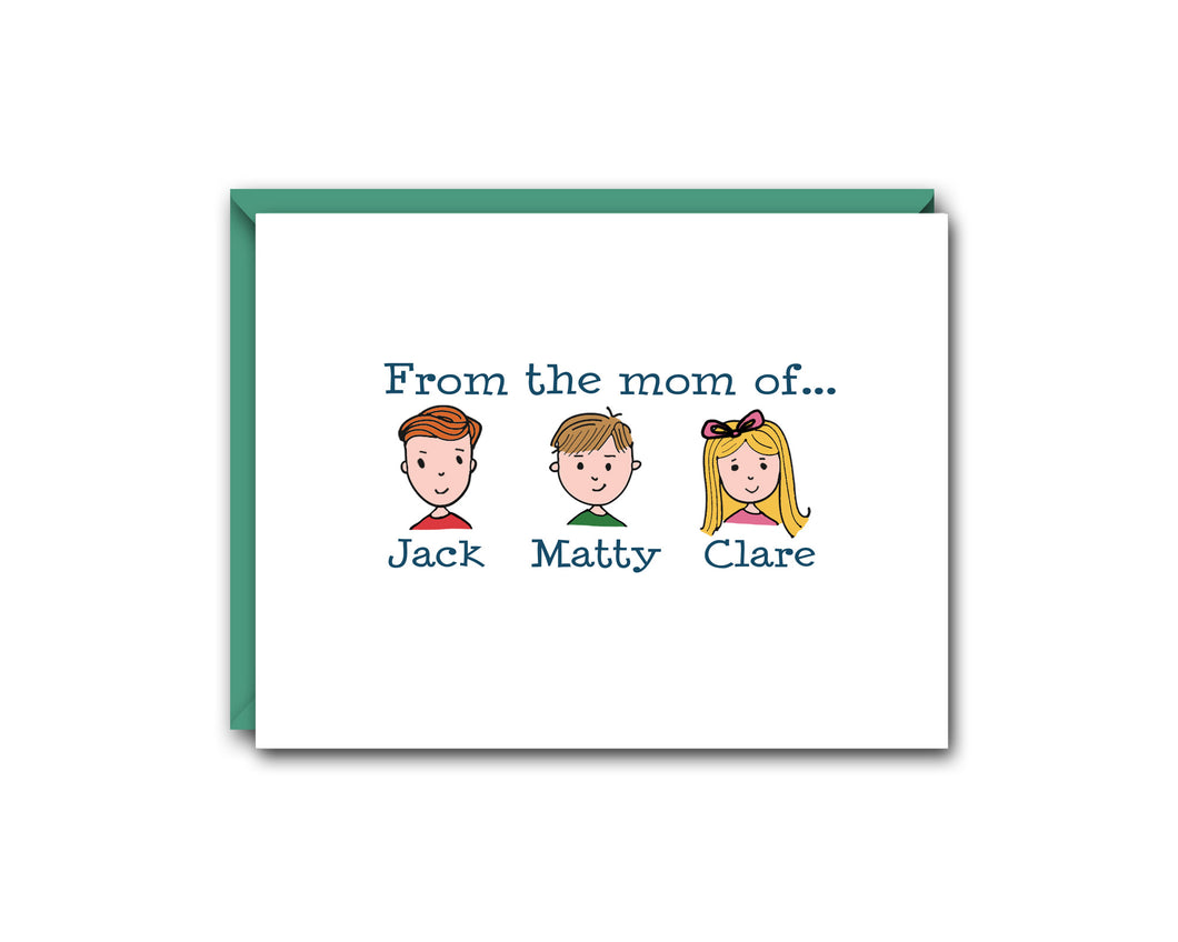 FROM THE MOM OFF... THREE CHILDREN PERSONALIZED NOTE CARD SET