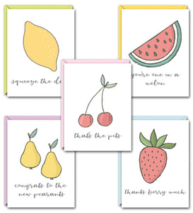FRUIT PUNCH PUN FUN GREETING CARD SET
