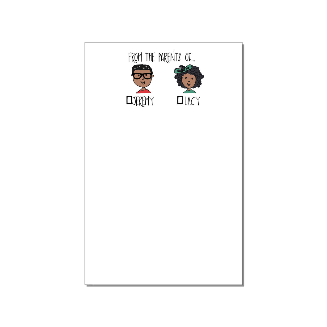 FROM THE MOM OF... TWO CHILD PERSONALIZED LARGE NOTEPAD