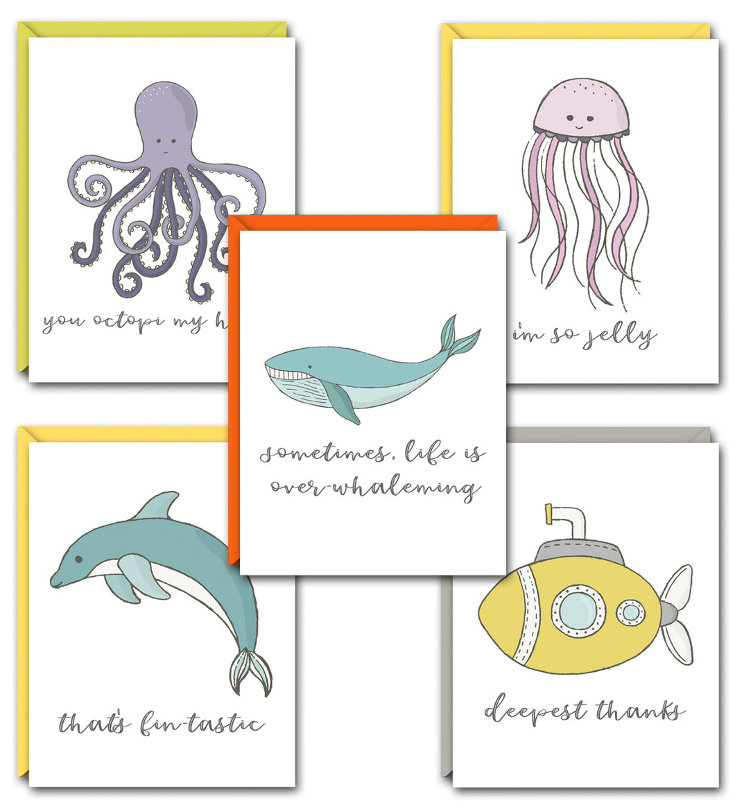 SEAS THE DAY PUN FUN GREETING CARD SET
