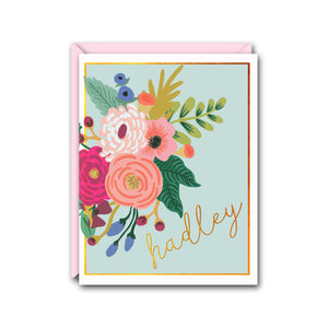 FLORAL BOUQUET PERSONALIZED NOTE CARD SET