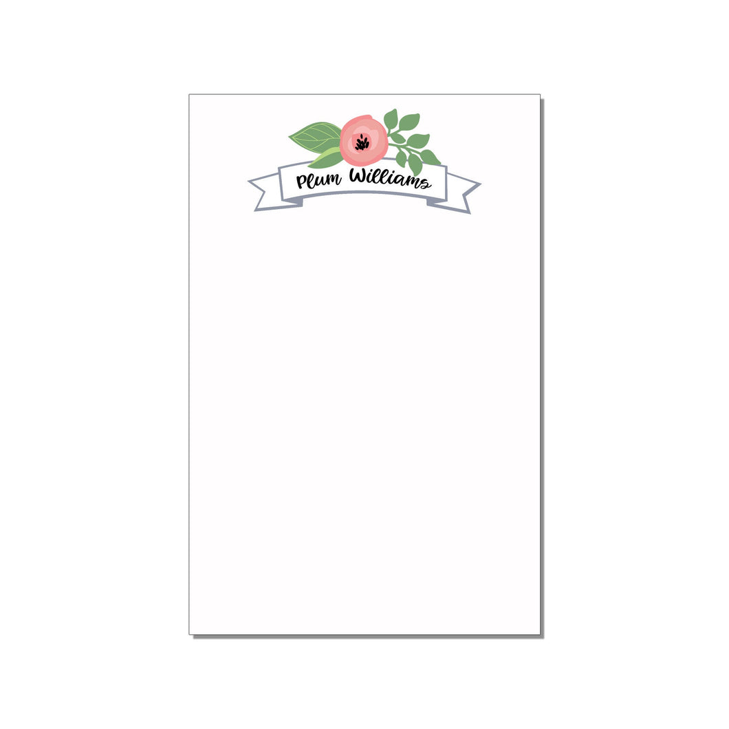 FLORAL BANNER PERSONALIZED LARGE NOTEPAD