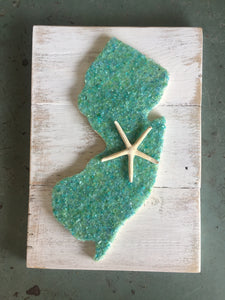 Green Glass New Jersey on Reclaimed Wood