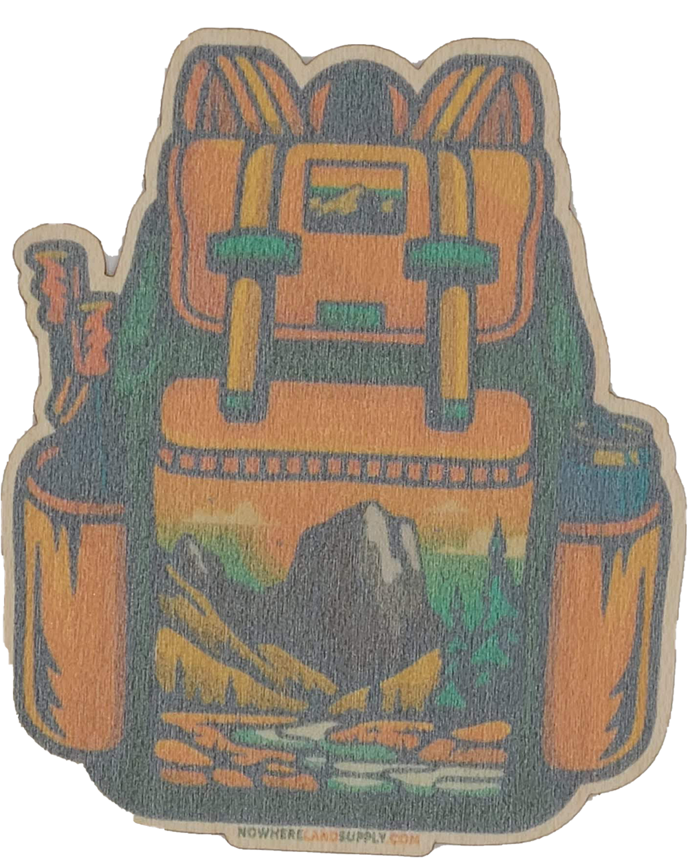 Backpack Wood Sticker - Nowhere Land