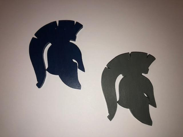 Hand Carved Wooden Spartan Head Ornaments