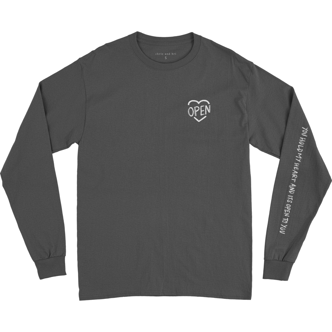 Grey Heart Open LS T-Shirt